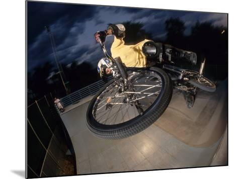 Bmx Cyclist Flys over the Vert--Mounted Photographic Print