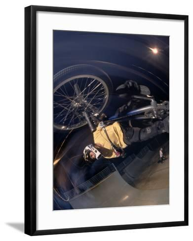 Bmx Cyclist Flys over the Vert--Framed Art Print