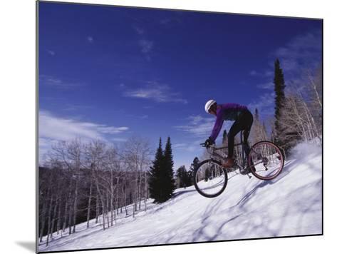 Mountain Biking on Snow--Mounted Photographic Print