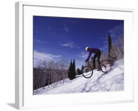 Mountain Biking on Snow--Framed Art Print