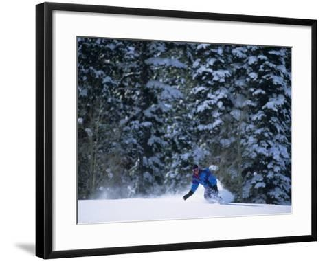 Male Snowboarder in Action--Framed Art Print