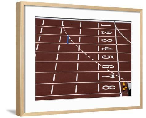 Track Lane Numbers at the Finish Line-Paul Sutton-Framed Art Print