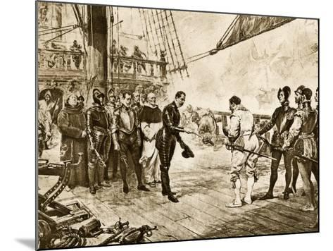Spanish Armada's Admiral Surrenders His Sword to Francis Drake, c.1588--Mounted Photographic Print