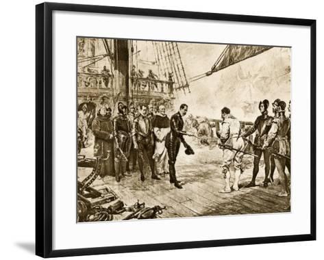 Spanish Armada's Admiral Surrenders His Sword to Francis Drake, c.1588--Framed Art Print