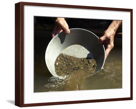 Reenactor Panning for Gold on the American River, Where the Gold Rush Started, Coloma, California--Framed Art Print