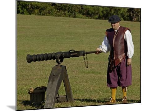 Portuguese Swivel Gun from the 1600s, an Artillery Demonstration at Yorktown Battlefield, Virginia--Mounted Photographic Print