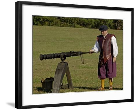 Portuguese Swivel Gun from the 1600s, an Artillery Demonstration at Yorktown Battlefield, Virginia--Framed Art Print