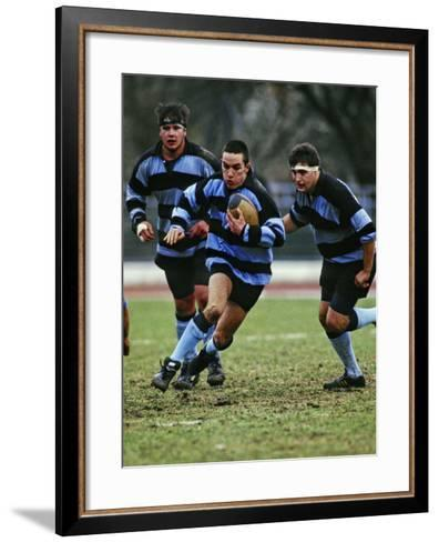 Rugby Players in Action, Paris, France-Paul Sutton-Framed Art Print