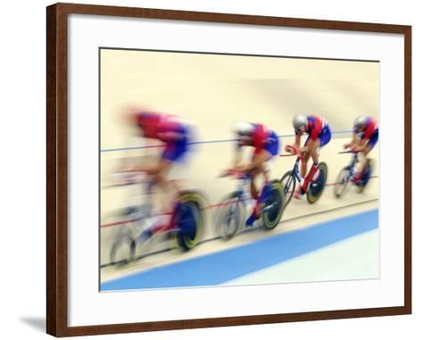 Blurred Action of Cycliing Team Onthe Track-Chris Trotman-Framed Art Print