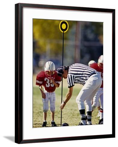 Referee Measuring for a First Down During a During a Pee Wee Football Game, Denver, Colorado, USA--Framed Art Print