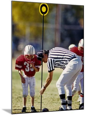 Referee Measuring for a First Down During a During a Pee Wee Football Game, Denver, Colorado, USA--Mounted Photographic Print