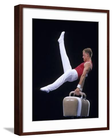 Male Gymnast Performing on the Pomell Horse--Framed Art Print