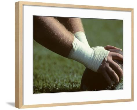 Football Center About to Snap the Ball-Paul Sutton-Framed Art Print