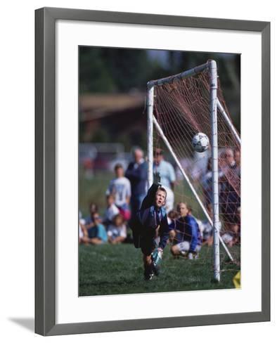 11 Year Old Boys Soccer Goalie in Action--Framed Art Print