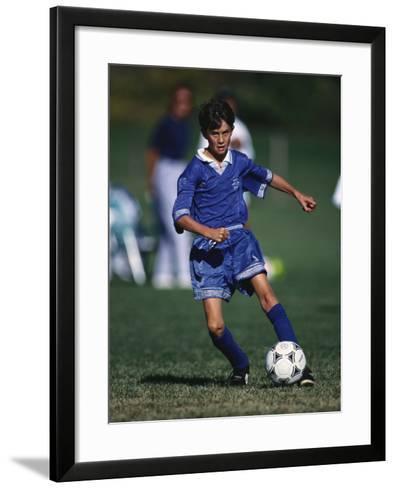 11 Year Old Boys Soccer Action--Framed Art Print
