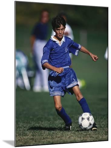 11 Year Old Boys Soccer Action--Mounted Photographic Print