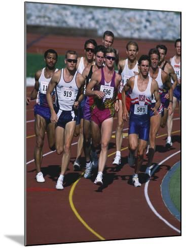 Male Runners Competing in a Track Race--Mounted Photographic Print