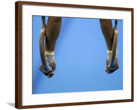 Male Gymnast Competing on Rings in Men's Qualification, 2004 Olympic Summer Games, Athens, Greece, -Steven Sutton-Framed Art Print