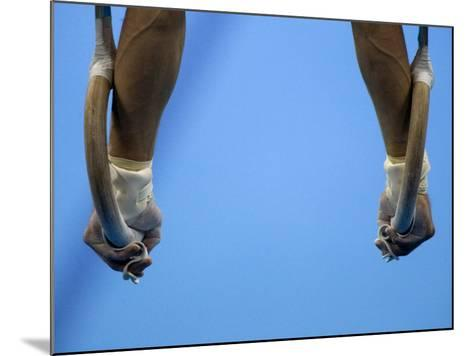 Male Gymnast Competing on Rings in Men's Qualification, 2004 Olympic Summer Games, Athens, Greece, -Steven Sutton-Mounted Photographic Print