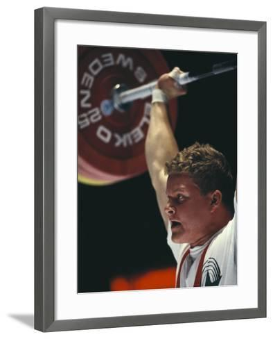 Weightlifter in Action--Framed Art Print