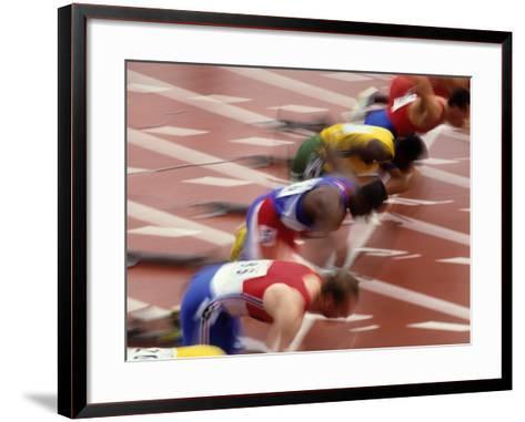 Start of a Mens 100M Race-Paul Sutton-Framed Art Print