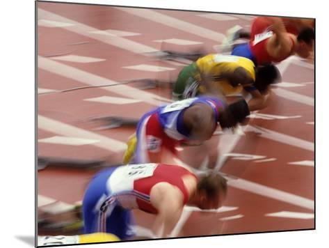 Start of a Mens 100M Race-Paul Sutton-Mounted Photographic Print