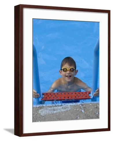 Portrait of 9 Year Old Boy in Swimming Pool, Kiamesha Lake, New York, USA-Paul Sutton-Framed Art Print
