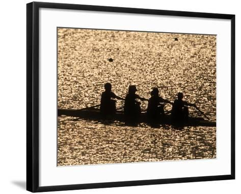 Silhouette of Women's Fours Rowing Team, Atlanta, Georgia, USA--Framed Art Print