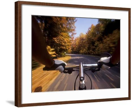 Detail of Cyclist View while Riding on the Roads--Framed Art Print