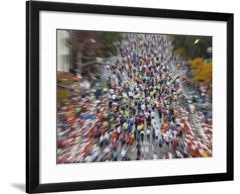 Runners Competing on First Avenue During 2009 New York City Marathon--Framed Art Print