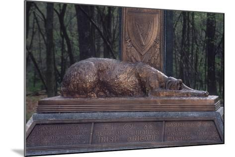 Irish Wolfhound on the Monument to NY's Irish Brigade, Little Round Top, Gettysburg Battlefield--Mounted Photographic Print