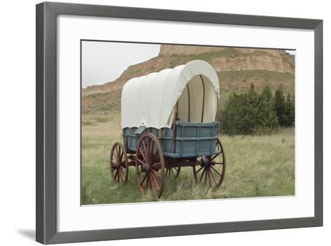 Covered Wagon Replica on the Oregon Trail, Scotts Bluff National Monument, Nebraska--Framed Art Print