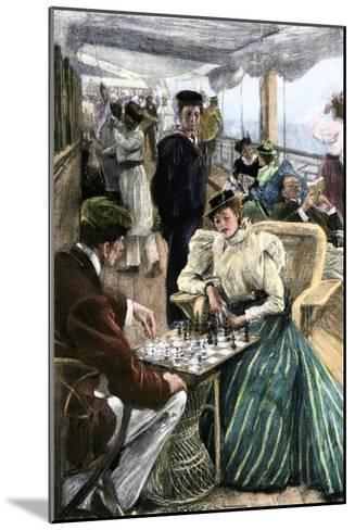 Passengers' Afternoon Recreation on the Deck of a P & O Steamship Circa 1900--Mounted Photographic Print