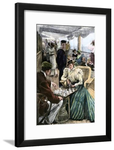 Passengers' Afternoon Recreation on the Deck of a P & O Steamship Circa 1900--Framed Art Print