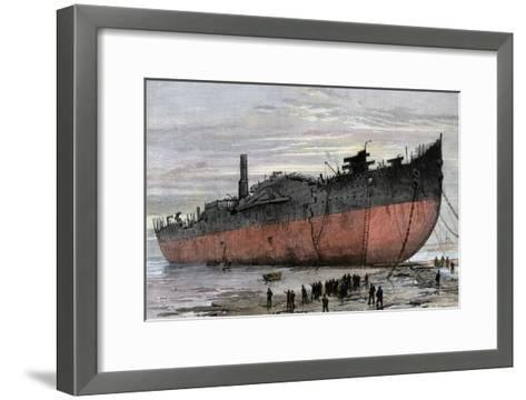 """Wrecked Hull of the Steamship """"Great Eastern"""" at New Ferry, England, 1889--Framed Art Print"""