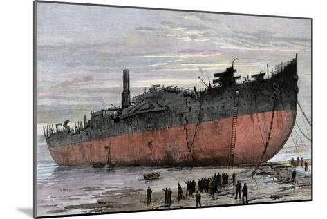 """Wrecked Hull of the Steamship """"Great Eastern"""" at New Ferry, England, 1889--Mounted Photographic Print"""