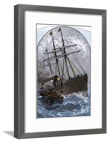 Mail Boat in a Gale Delivering to White Star Lines Steamer Germanic Off Sandy Hook, NJ, 1870s--Framed Art Print
