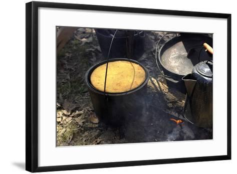 Cornbread and Coffee on a Campfire, Confederate Living History Demonstration, Shiloh, Tennessee--Framed Art Print