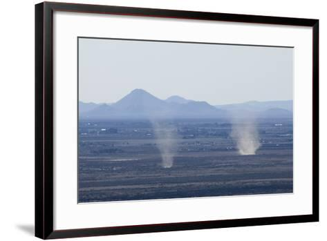 Dust Devils Twirl in the Desert Along the Mexico Border, Southern New Mexico--Framed Art Print