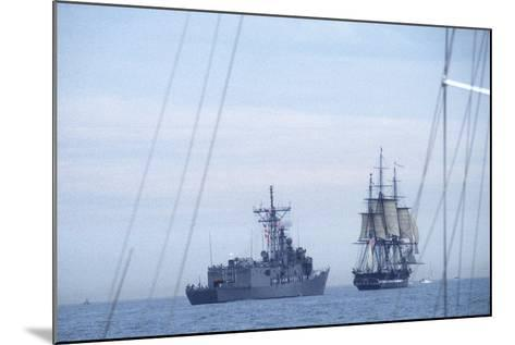 """USS Constitution """"Old Ironsides"""" Under Sail, Escorted by Modern US Navy Frigate, 1997--Mounted Photographic Print"""