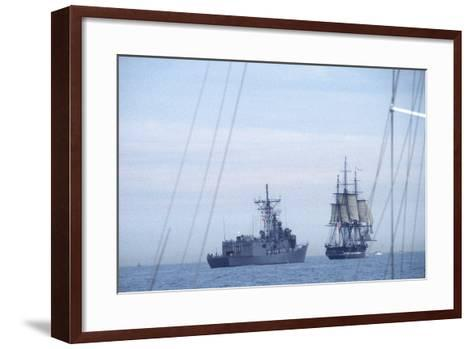 """USS Constitution """"Old Ironsides"""" Under Sail, Escorted by Modern US Navy Frigate, 1997--Framed Art Print"""