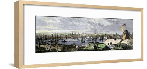 Busy Port of Baltimore, Maryland, 1870s, Viewed From Federal Hill--Framed Art Print