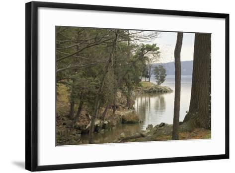 Hudson River From the Shore of Hyde Park, NY--Framed Art Print