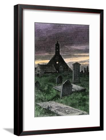 Graveyard of the Old Church in Boyndie Parish, Scotland, 1800s--Framed Art Print