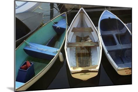 Small Boats Along Bar Harbor Pier, Mount Desert Island on the Atlantic Coast of Maine--Mounted Photographic Print