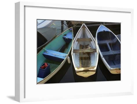 Small Boats Along Bar Harbor Pier, Mount Desert Island on the Atlantic Coast of Maine--Framed Art Print