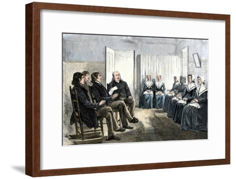 Shakers at a Singing Meeting, Lebanon, New York, 1870s--Framed Art Print
