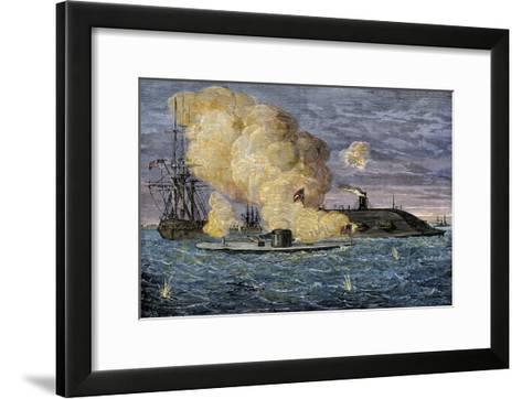 Battle Between the Monitor and the Merrimac, Hampton Roads, 1862--Framed Art Print