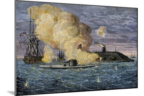 Battle Between the Monitor and the Merrimac, Hampton Roads, 1862--Mounted Photographic Print