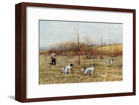 Bird Hunter with His Setters in the Field, Circa 1900--Framed Art Print